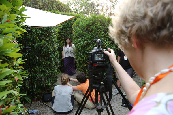 The crew was very eager to learn. We used their cameras and helped them to learn easy tricks for lighting and shading.